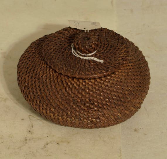 Philippines Basket Round Rattan Lidded Basket Ifugao Handmade Woven Storage Jewelry Keepsake Basket