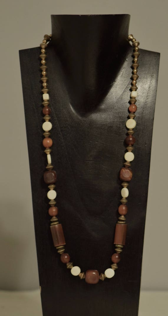 Necklace Indonesian Brown Horn Bone Beads Handmade Horn Tubes Bead  Bone Round Beads Gold Beaded Necklace