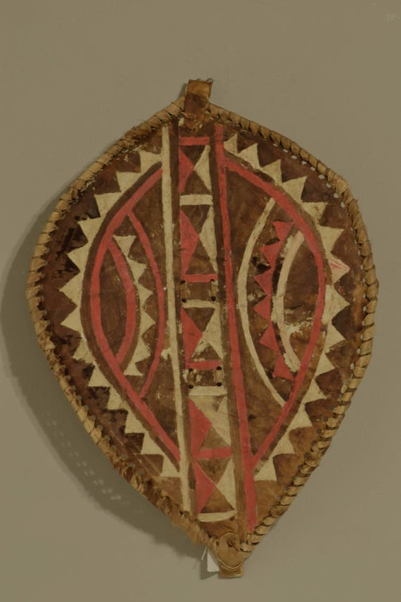 Shield African Masai Male Hide Warrior Kenya  Handmade Painted Hide Rites of Passage Shield