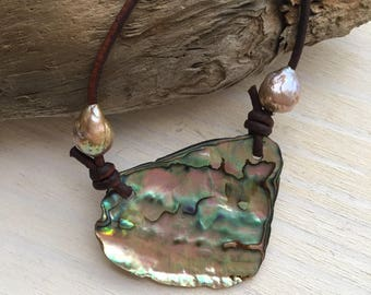 Abalone and Pearls Leather Necklace