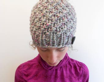 Alpaca Messy Bun Hat - Beanie with Bun Hole - Ponytail Hat - Chunky Knit - Made in Alaska - Gift for Her - Gray Pink