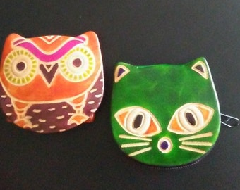 One set of hand painted leather 3in x 3in coin purses, may have a snap or zipper, so cute! Free shipping