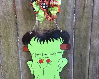 Halloween Door Hanger, Frankenstein, Frankenstein Door Hanger, Frankenstein Wreath, Halloween Wreath, Halloween, Halloween Decorations