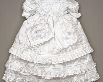 HandMade Christening Gown for Girls - Embellished Baptism Dress G004 Burbvus | Ropon Espanol | Heirloom flower Girl Dress - Gown