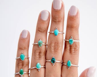 Delicate Dainty Pear Genuine Turquoise 925 Silver Ring / Turquoise Stacking Ring / Cute Turquoise Ring / Teal Teardrop Ring
