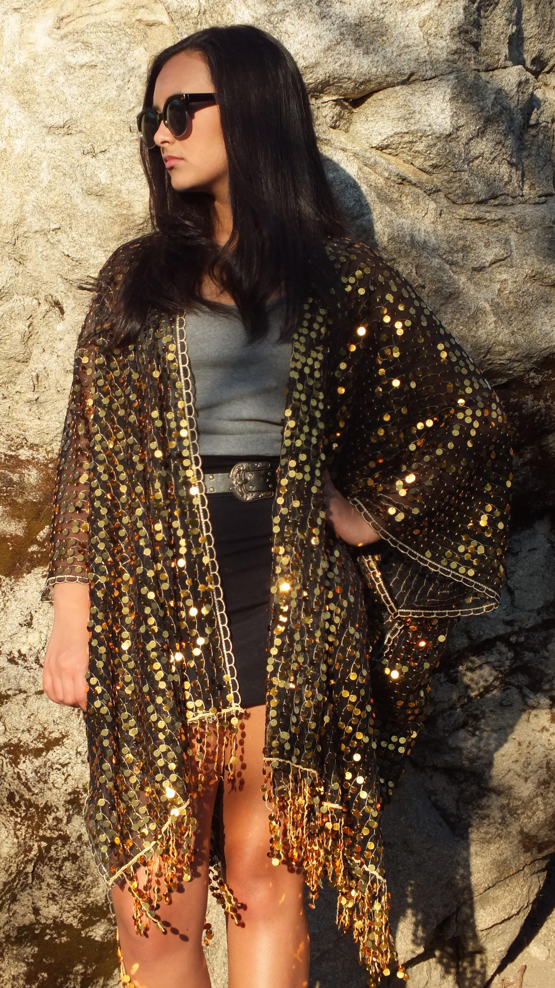 Festival Black Gold Metallic Sequin Boho Sheer Caftan with