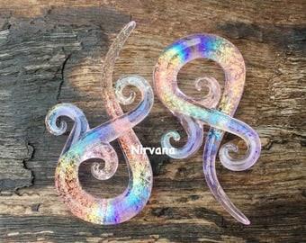 "1 Pair (2 Pieces) Tranlucent Rainbow Dichroic Translucent Pink Encased Bonita Spirals 10g 8g 6g 4g 2g 0g - 5/8"" 3mm  - 16 mm"