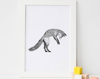 Fox Nursery Print, Fox Nursery Wall art, Baby Fox Wall art, Print Fox Baby, Woodland Fox, Baby Shower Gift, Fox Animal Wall Art, Fox Print
