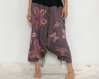 Touch Soft Silk..Gray Pink Soft Silk Harem Pants with Batterfly patterned (HR-599)