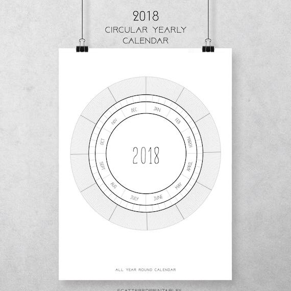 Blank Year Round Calendar : Circular calendar planner round yearly