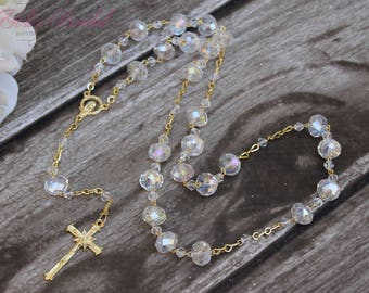 FAST SHIPPING!!! Silver or Gold AB Beautiful Rosary, Wedding Rosary, Communion Rosary, Christening Rosary, Confirmation Rosary, Rosary Gift