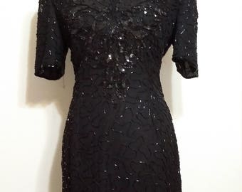 Silk dress, M, L, beaded dress, formal dress, sequin dress, black dress, special occasion dress