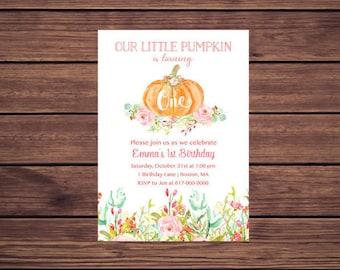 Pumpkin 1st Birthday Invitation Girl, Pumpkin Floral Birthday Invitation, Printable 115
