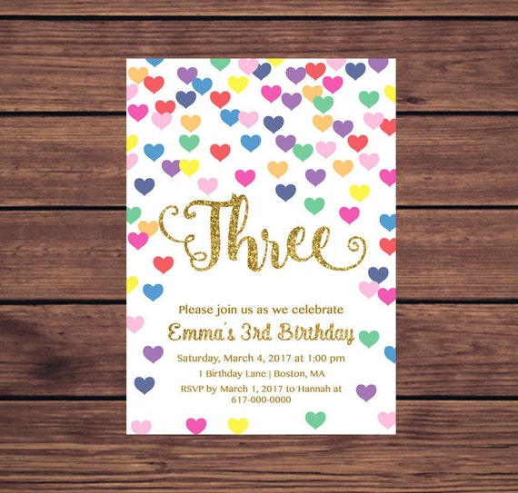 3rd birthday invitation girl any age colorful hearts girl first il570xn filmwisefo