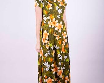 Maxi Dress 60s Dress Floral Dress Summer Dress Retro Dress Party Dress Printed Dress Hawaiian Dress Long Dress Casual Hippie Dress Sz: M