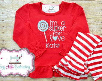 Valentine's Day Sucker for Love  shirt pants set girl child kid baby toddler infant custom personalized monogram name