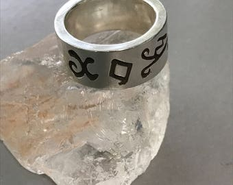 Vintage Sterling Silver Occult Picatrix Moon Sigil Wealth Money Abundance Spell Band Ring