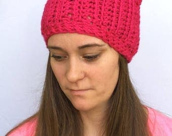 50% OFF Crochet Pink Pussy Cat Hat | Knit Pink Pussy Hat