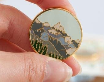 Mountains Enamel Pin | Pin Badge | Hard Enamel Pin | Gold Enamel Pin Badge | Mountain Pin | Alpine Mountain Scene | Wilderness Explorer Pin