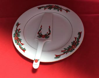 Christmas Poinsettia and Ribbon Tienshan Plate and Matching Server