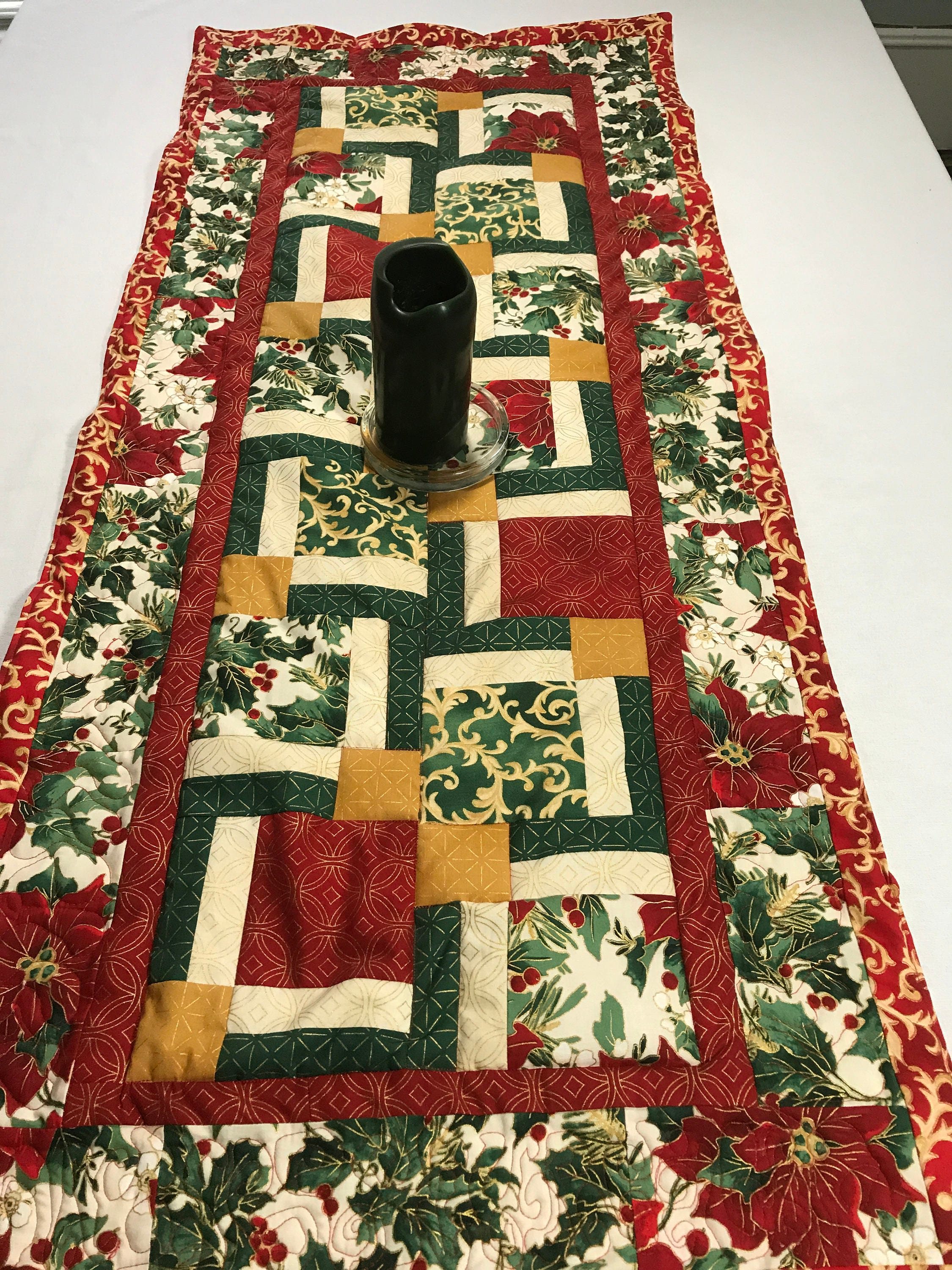 Quilted Christmas Table Runner Christmas Runner Quilted Table