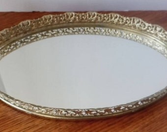 Vintage mirrored tray, reticulating gold filagree mirror tray, oval mirror tray, perfume tray