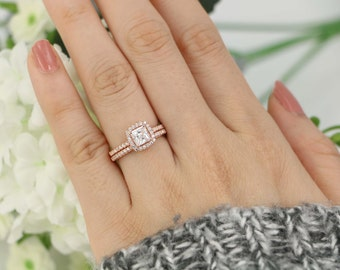 Halo Engagement Ring Wedding Set Sterling Silver Cushion Cut