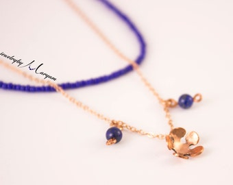 Copper flower and Lapis lazuli beads necklace