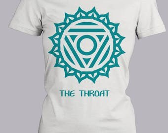 Throat Chakra T-Shirt, Trendy Fitted Cute Blue Shirt, Short Sleeve Fitted Tee, Cute Graphic Tee, Metaphysical Shirt, Screen Printed Tee