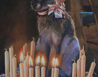 Oversize card, Blank Card, Rabbit, Jack Rabbit, Birthday, Clementine