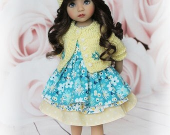 """Outfit for Little Darling doll 13"""" by Dianna Effner: jacket, dress and hat"""