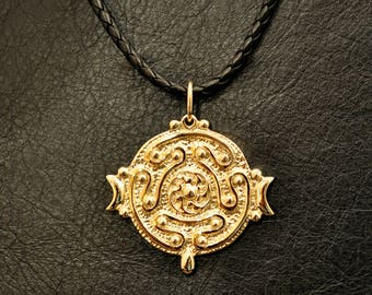 Hekate's Strophalos pendant, 10K gold, Hecate, wheel, wicca, magic, witch, witchcraft, pagan, greek goddess, lost wax casting
