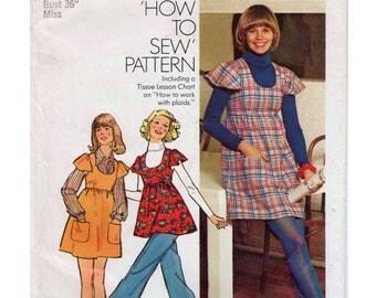 """Baby Doll Dress Kawaii Dress Pattern 1970s Mini Dress Pattern SIMPLICITY 5796 UNCUT bust 36"""" Empire Waist Top Flutter Sleeve 1970s Top"""