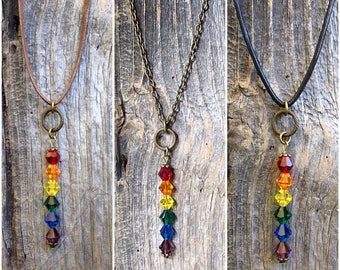Chakra crystals, chakra necklace, chakra stones, yoga jewelry, new age jewelry, gay pride necklace, LGBT pride rainbow,  lesbian pride flag