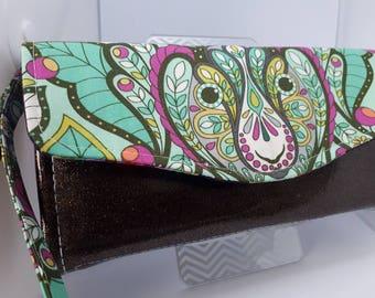 Sparkle and shine, vinyl and cotton wallet/wristlet