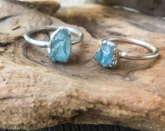 Raw Aquamarine Ring | March Birthstone | Aquamarine Jewelry | Raw Aquamarine | Electroformed Ring | Stone Ring | Crystal Ring |