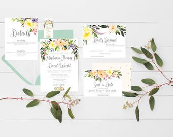 printable wedding invitation willow wedding invitations watercolor invitation suite watercolor wedding invites floral wedding invitation set - Printable Wedding Invitation Kits