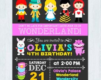 Alice in Wonderland Invitation, Alice Wonderland invitation, Alice in Wonderland birthday invitation