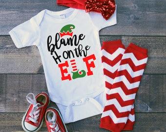Blame It On The Elf Newborn Baby Toddler Short Sleeve One Piece Bodysuit Tee Shirt Romper Custom Shower Gift Christmas Holiday Santas Helper