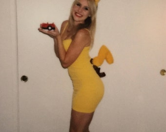 pokemon pikachu costume dress tail ears one size