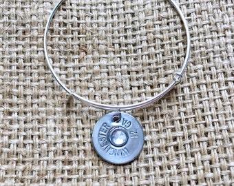 Bullet Bracelet, Bullet Bangle, Ammo Slice Bangle, Silver Ammo Bracelet, 12 Gauge Bracelet, Shotgun Shell Bracelet, Adjustable Bangle
