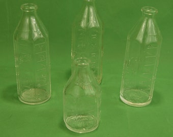 50's Pyrex  Baby Bottles Clear Glass 8 oz & 4 oz w/ Narrow Neck Made in USA 58N + 54N lot of 4