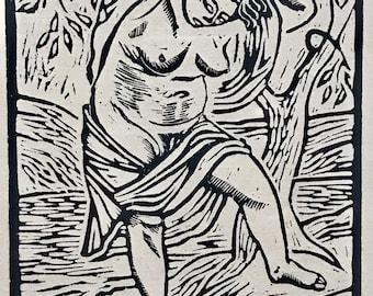 Woodcut by listed WPA artist Edgar Britton***FREE SHIPPING***
