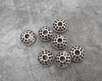 Large bead spacer round, big hole 4 mm, silver, 15 mm