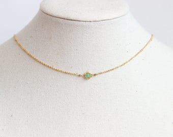 Emerald Choker Necklace - May Birthstone, Birthstone Choker Necklace, Dainty Choker Necklace, Dainty Emerald Necklace, Emerald Necklace