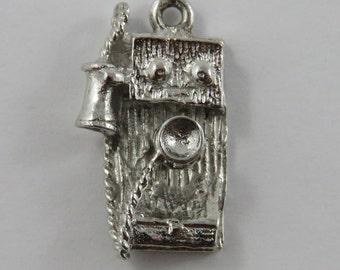 Brant Bell Centennial Wall Telephone Sterling Silver Vintage Charm For Bracelet