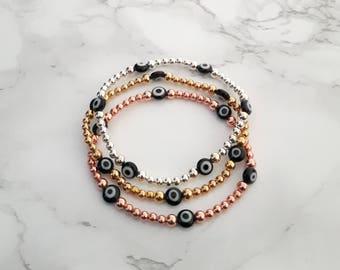Evil Eye Beaded Bracelet, Evil Eye Stretch Bracelet, Evil Eye Jewelry, Hamsa Bead Bracelet, Gold Evil Eye Bracelet, Rose Evil Eye Bracelet