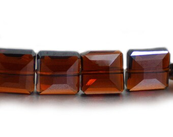 Chinese Crystal Faceted Square Dark Brown Topaz Amber 13mm