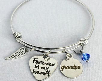 GRANDPA Memorial Bracelet, Forever in my Heart, Memorial Charm Bangle, Loss of Grandfather, Remembrance Jewelry, In Memory, Sympathy Gift
