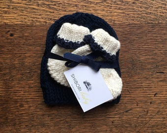Hand Knit Hat and Booties